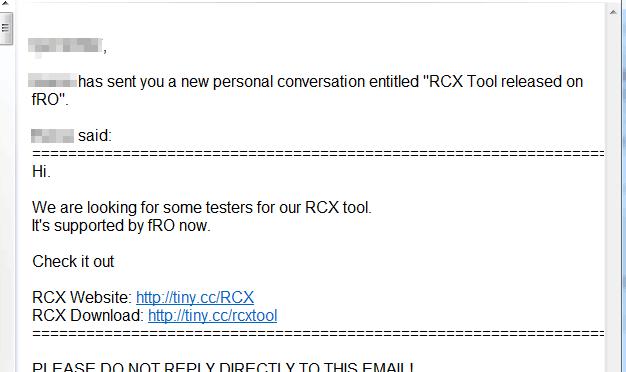 RCX の非公式配布について